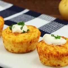 Muffins de papa y queso cheddar